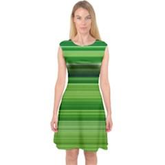 Horizontal Stripes Line Green Capsleeve Midi Dress