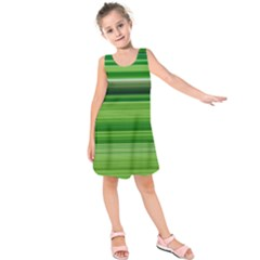 Horizontal Stripes Line Green Kids  Sleeveless Dress