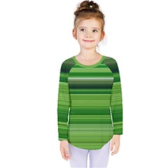 Horizontal Stripes Line Green Kids  Long Sleeve Tee