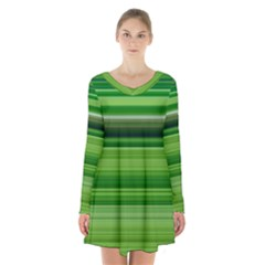 Horizontal Stripes Line Green Long Sleeve Velvet V Neck Dress