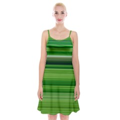 Horizontal Stripes Line Green Spaghetti Strap Velvet Dress