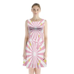 Hurak Pink Star Yellow Hole Sunlight Light Sleeveless Chiffon Waist Tie Dress