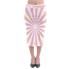 Hurak Pink Star Yellow Hole Sunlight Light Midi Pencil Skirt