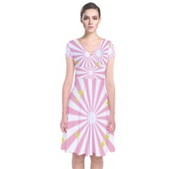 Hurak Pink Star Yellow Hole Sunlight Light Short Sleeve Front Wrap Dress