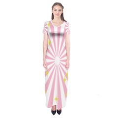 Hurak Pink Star Yellow Hole Sunlight Light Short Sleeve Maxi Dress