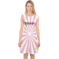 Hurak Pink Star Yellow Hole Sunlight Light Capsleeve Midi Dress