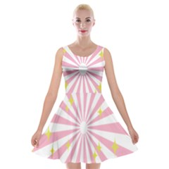 Hurak Pink Star Yellow Hole Sunlight Light Velvet Skater Dress