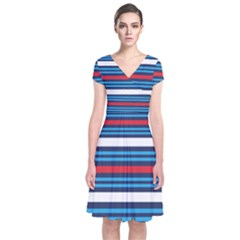 Martini Style Racing Tape Blue Red White Short Sleeve Front Wrap Dress