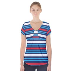 Martini Style Racing Tape Blue Red White Short Sleeve Front Detail Top
