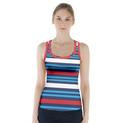 Martini Style Racing Tape Blue Red White Racer Back Sports Top