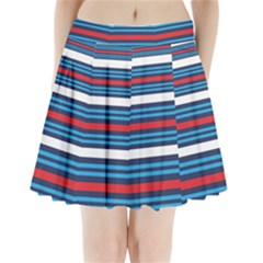 Martini Style Racing Tape Blue Red White Pleated Mini Skirt