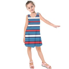 Martini Style Racing Tape Blue Red White Kids  Sleeveless Dress