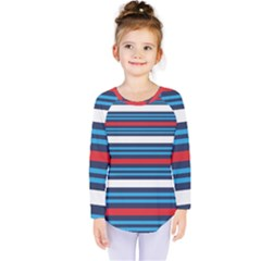 Martini Style Racing Tape Blue Red White Kids  Long Sleeve Tee