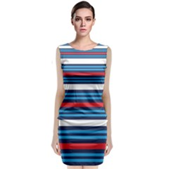 Martini Style Racing Tape Blue Red White Sleeveless Velvet Midi Dress