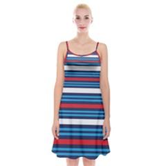 Martini Style Racing Tape Blue Red White Spaghetti Strap Velvet Dress