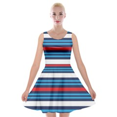 Martini Style Racing Tape Blue Red White Velvet Skater Dress