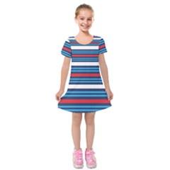 Martini Style Racing Tape Blue Red White Kids  Short Sleeve Velvet Dress