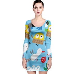 New Zealand Birds Close Fly Animals Long Sleeve Bodycon Dress