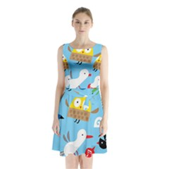 New Zealand Birds Close Fly Animals Sleeveless Chiffon Waist Tie Dress