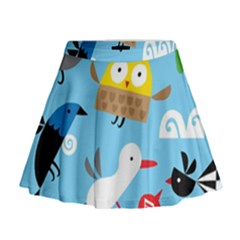 New Zealand Birds Close Fly Animals Mini Flare Skirt