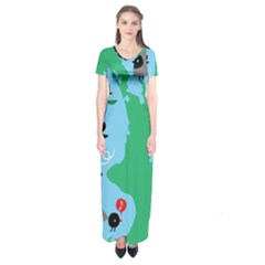 New Zealand Birds Detail Animals Fly Short Sleeve Maxi Dress