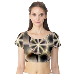 Background With Fractal Crazy Wheel Short Sleeve Crop Top (Tight Fit)