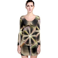 Background With Fractal Crazy Wheel Long Sleeve Bodycon Dress