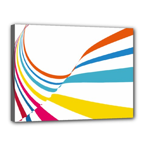 Line Rainbow Orange Blue Yellow Red Pink White Wave Waves Canvas 16  X 12