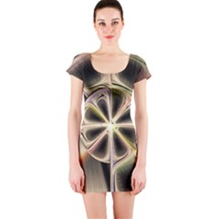 Background With Fractal Crazy Wheel Short Sleeve Bodycon Dress