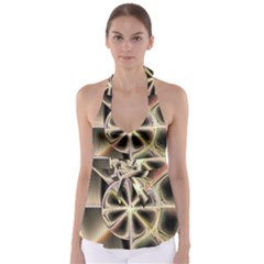 Background With Fractal Crazy Wheel Babydoll Tankini Top