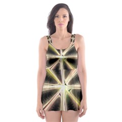Background With Fractal Crazy Wheel Skater Dress Swimsuit
