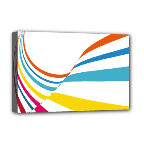 Line Rainbow Orange Blue Yellow Red Pink White Wave Waves Deluxe Canvas 18  X 12