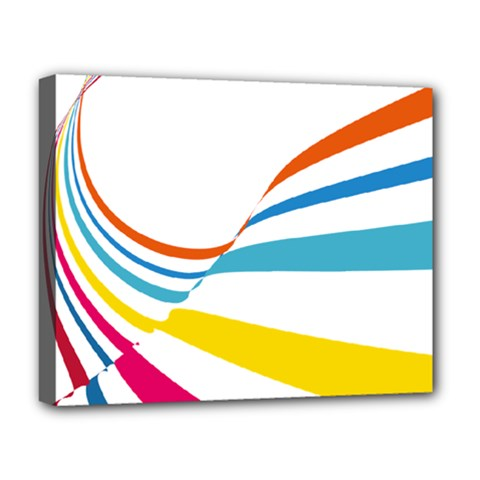 Line Rainbow Orange Blue Yellow Red Pink White Wave Waves Deluxe Canvas 20  X 16