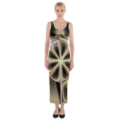 Background With Fractal Crazy Wheel Fitted Maxi Dress