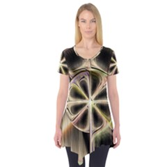 Background With Fractal Crazy Wheel Short Sleeve Tunic