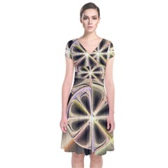 Background With Fractal Crazy Wheel Short Sleeve Front Wrap Dress