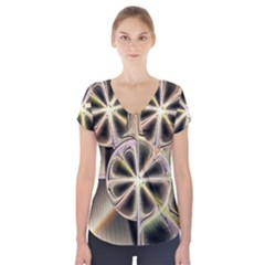 Background With Fractal Crazy Wheel Short Sleeve Front Detail Top