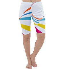 Line Rainbow Orange Blue Yellow Red Pink White Wave Waves Cropped Leggings