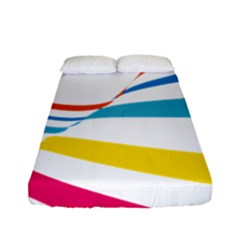 Line Rainbow Orange Blue Yellow Red Pink White Wave Waves Fitted Sheet (full/ Double Size)