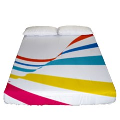 Line Rainbow Orange Blue Yellow Red Pink White Wave Waves Fitted Sheet (queen Size)