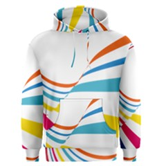 Line Rainbow Orange Blue Yellow Red Pink White Wave Waves Men s Pullover Hoodie
