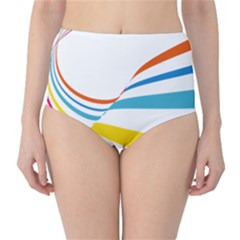 Line Rainbow Orange Blue Yellow Red Pink White Wave Waves High Waist Bikini Bottoms