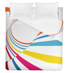 Line Rainbow Orange Blue Yellow Red Pink White Wave Waves Duvet Cover Double Side (queen Size)