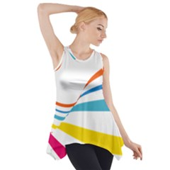 Line Rainbow Orange Blue Yellow Red Pink White Wave Waves Side Drop Tank Tunic
