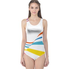 Line Rainbow Orange Blue Yellow Red Pink White Wave Waves One Piece Swimsuit