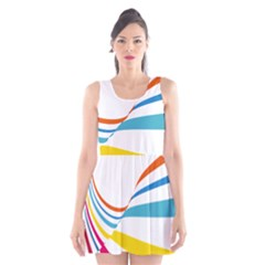 Line Rainbow Orange Blue Yellow Red Pink White Wave Waves Scoop Neck Skater Dress