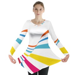 Line Rainbow Orange Blue Yellow Red Pink White Wave Waves Long Sleeve Tunic