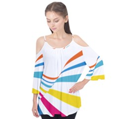 Line Rainbow Orange Blue Yellow Red Pink White Wave Waves Flutter Tees