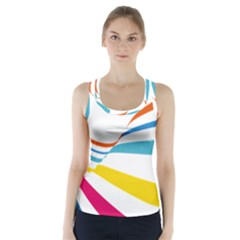 Line Rainbow Orange Blue Yellow Red Pink White Wave Waves Racer Back Sports Top