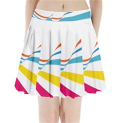 Line Rainbow Orange Blue Yellow Red Pink White Wave Waves Pleated Mini Skirt